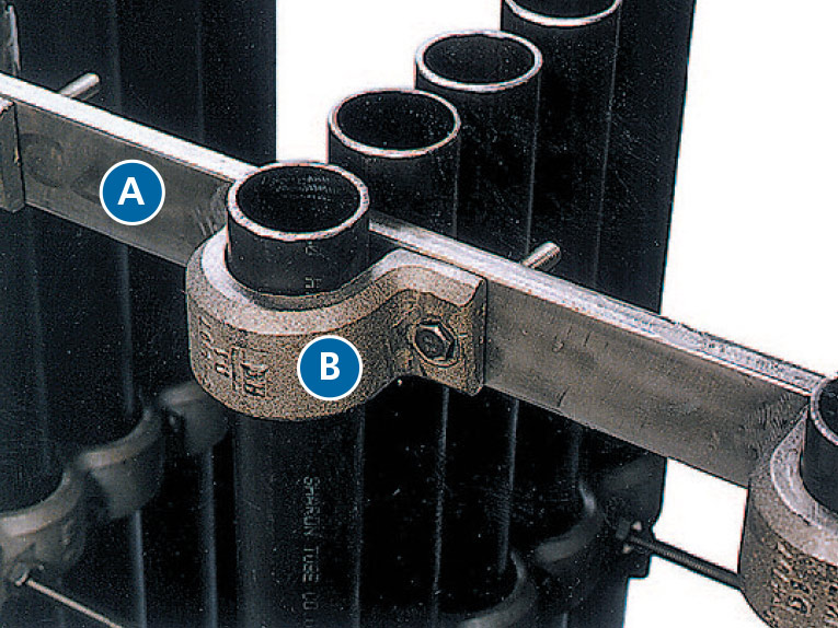 A: 235MA Bar  B: Cast U-Clamps Bolt to Bar, No Welding to the Tubes